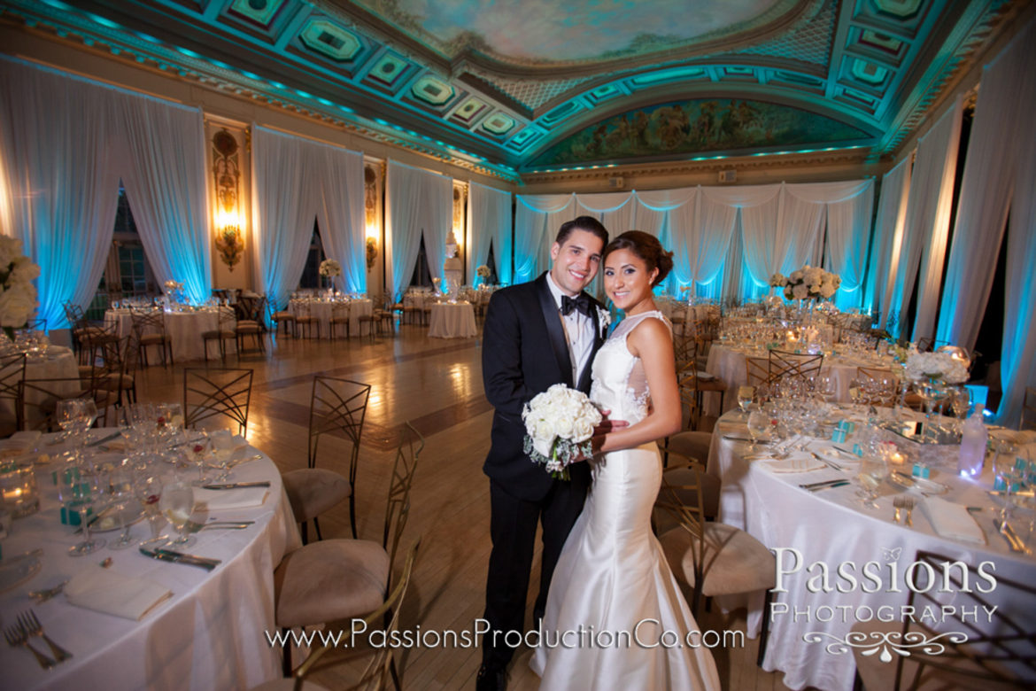 Elegant_Event_Lighting_Chicago_Medinah_Country_Club_Medinah_Wedding_White_DRraping_Blue_LED_Uplighting