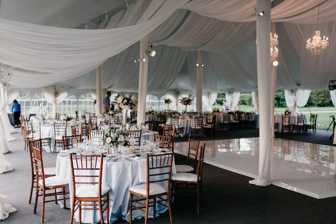 Elegant_Event_Lighting_Chicago_Morton_Arboretum_Lisle_Wedding_Ceiling_Drapes_Crystal_Chandeliers_White_Vinyl_Dance_Floor