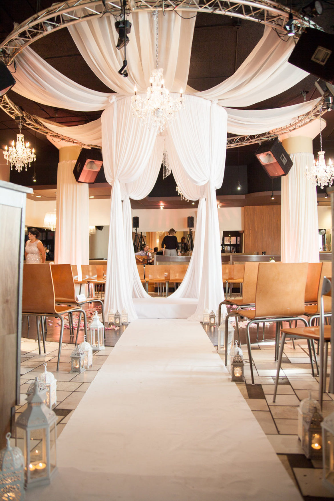 Elegant_Event_Lighting_Chicago_Nacional_27_Wedding_Ceremony_Bridal_Canopy_Ceiling_Draping_Aisle_Runner