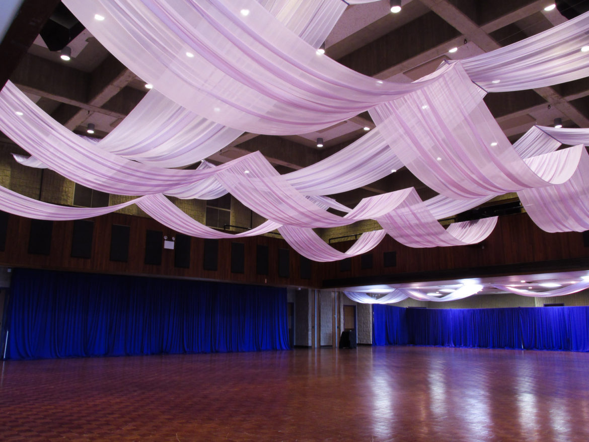 Elegant_Event_Lighting_Chicago_Northwestern_University_Evanston_Louis_Room_Ceiling_Draping_Decor_Purple