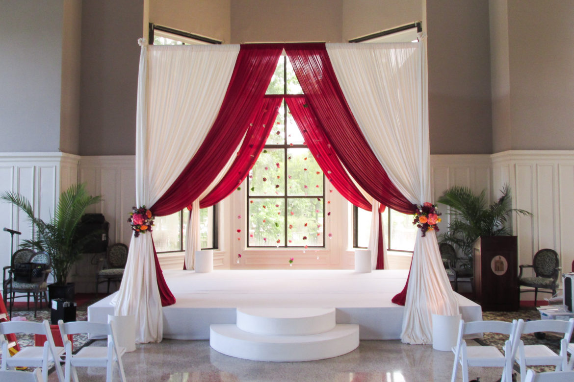 Elegant_Event_Lighting_Chicago_Olympia_Fields_Wedding_Uplighting_Bridal_Canopy_Chuppah_Red_Flower_Stage_cover_Moon_Steps