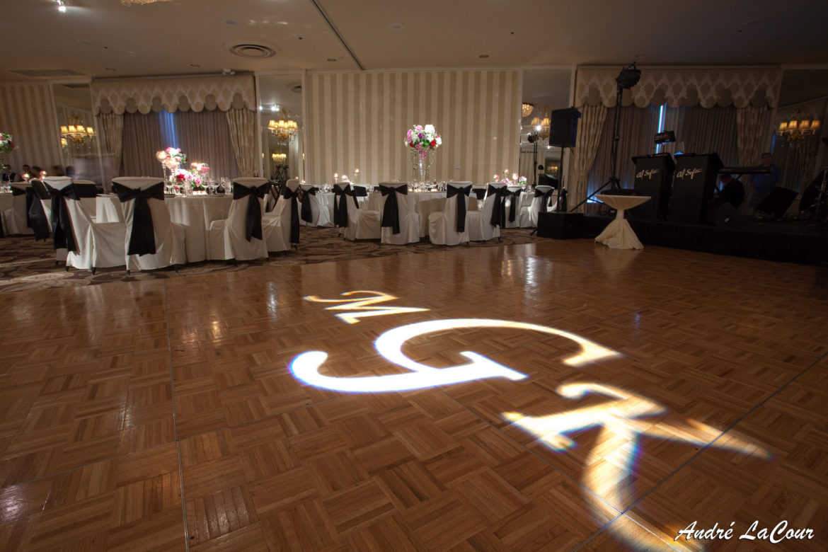 Elegant_Event_Lighting_Chicago_Orrington_Hilton_Evanston_Wedding_Dance_Floor_Monogram_Flower