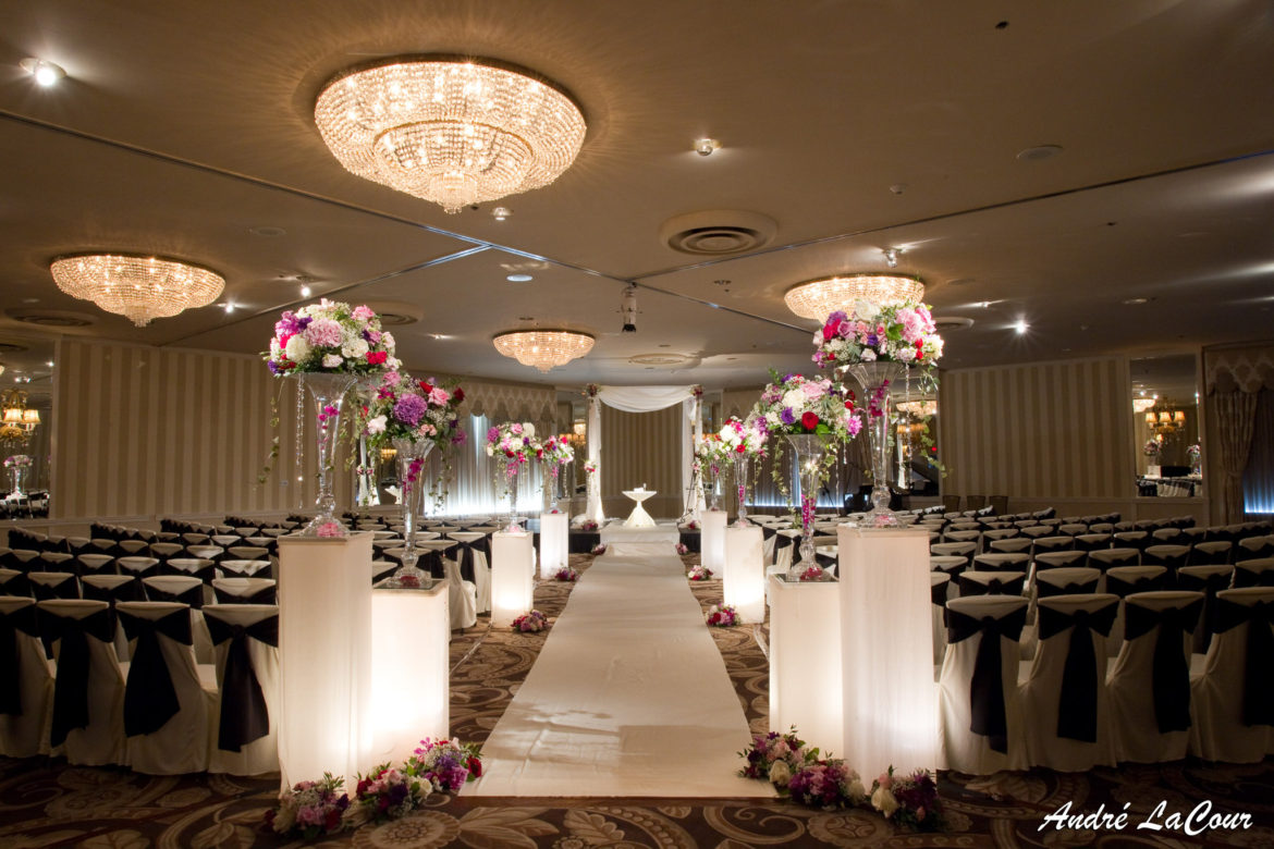 Elegant_Event_Lighting_Chicago_Orrington_Hilton_Evanston_Wedding_Ivory_Backdrop_Draping_Chuppah_Bridal_Canopy_Stage_Cover_Aisle_Runner_Flower_Pedestals