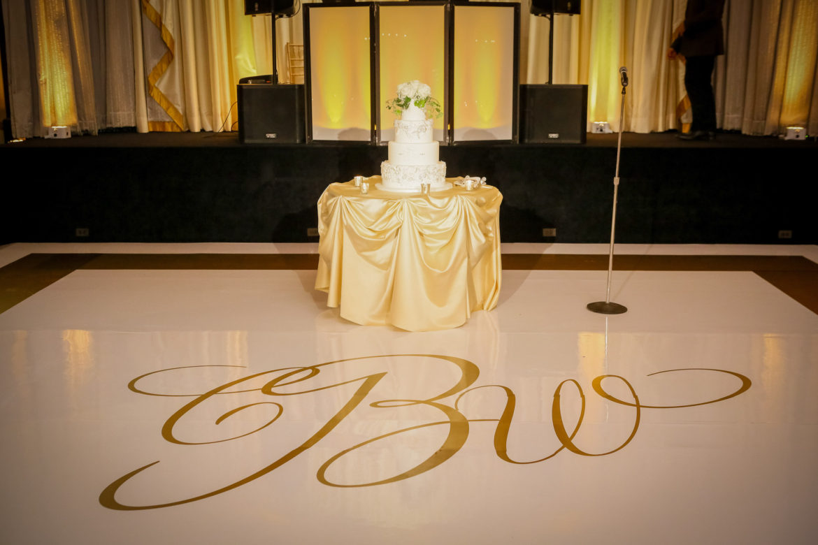 Elegant_Event_Lighting_Chicago_Palmer_House_Hilton_Wedding_Amber_Uplighting_Dance_Floor_Monogram_Cake_Lighting