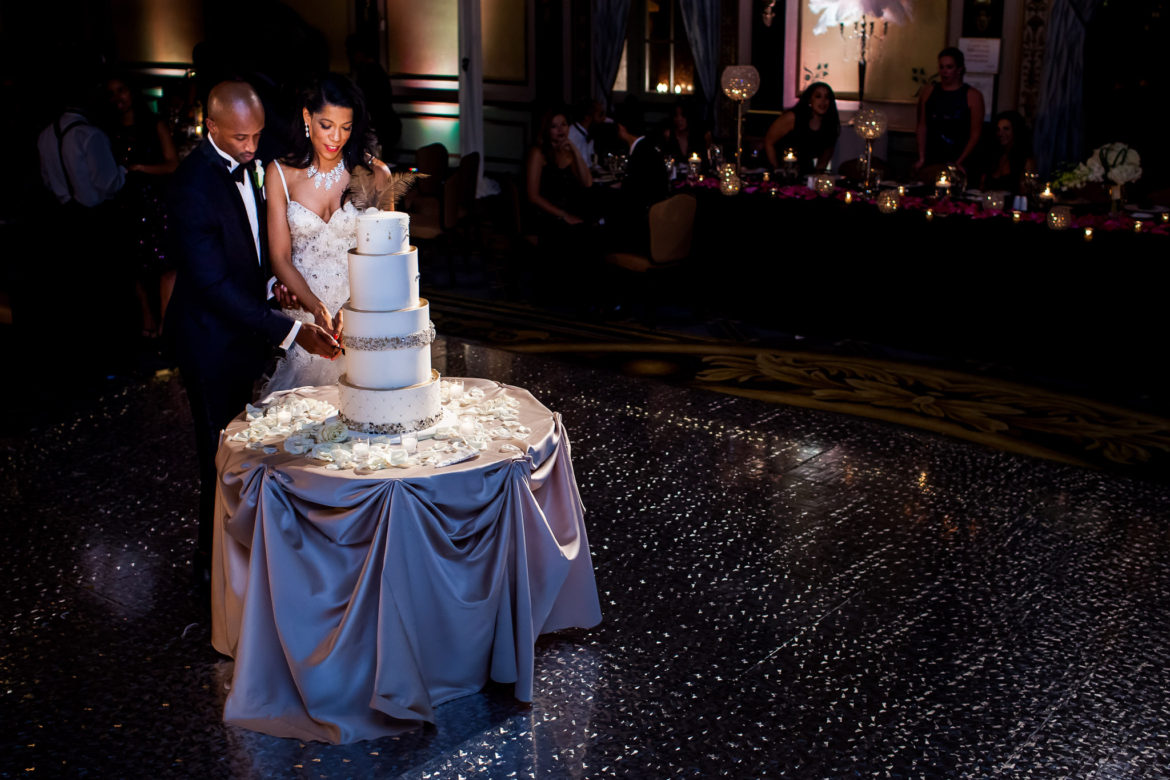 Elegant_Event_Lighting_Chicago_Palmer_House_Hilton_Wedding_Dance_Floor_Shimmer_Galaxy_Bride_Groom_Cake