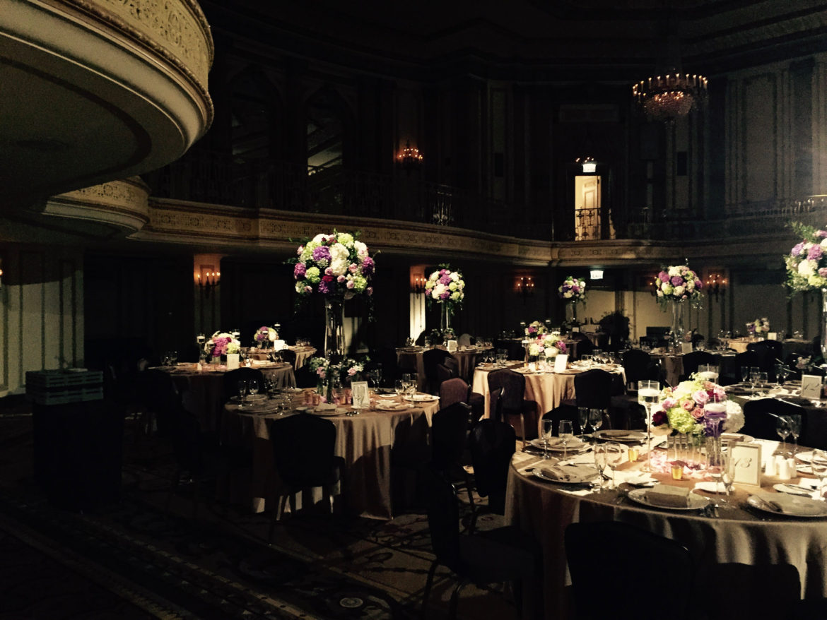 Elegant_Event_Lighting_Chicago_Palmer_House_Hilton_Wedding_Flower_Centerpice_Lighting