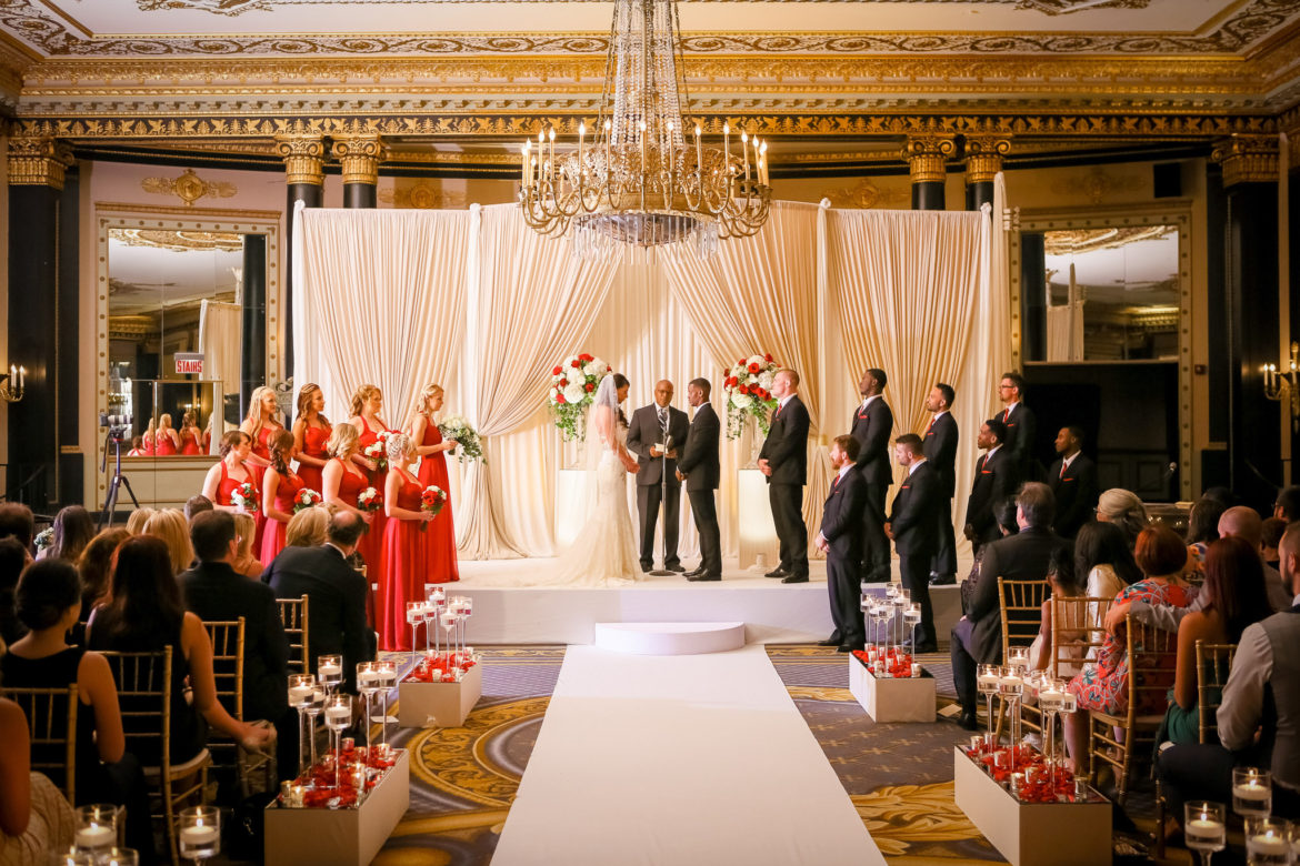 Elegant_Event_Lighting_Chicago_Palmer_House_Hilton_Wedding_Ivory_Backdrop_Draping_Chuppah_Bridal_Canopy_Arch_Stage_Cover_Aisle_Runner_Moon_Steps_Flower