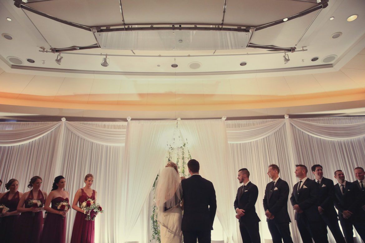 Elegant_Event_Lighting_Chicago_Park_Hyatt_Wedding_White_Backdrop_Draping_Chuppah_Bridal_Canopy_Arch