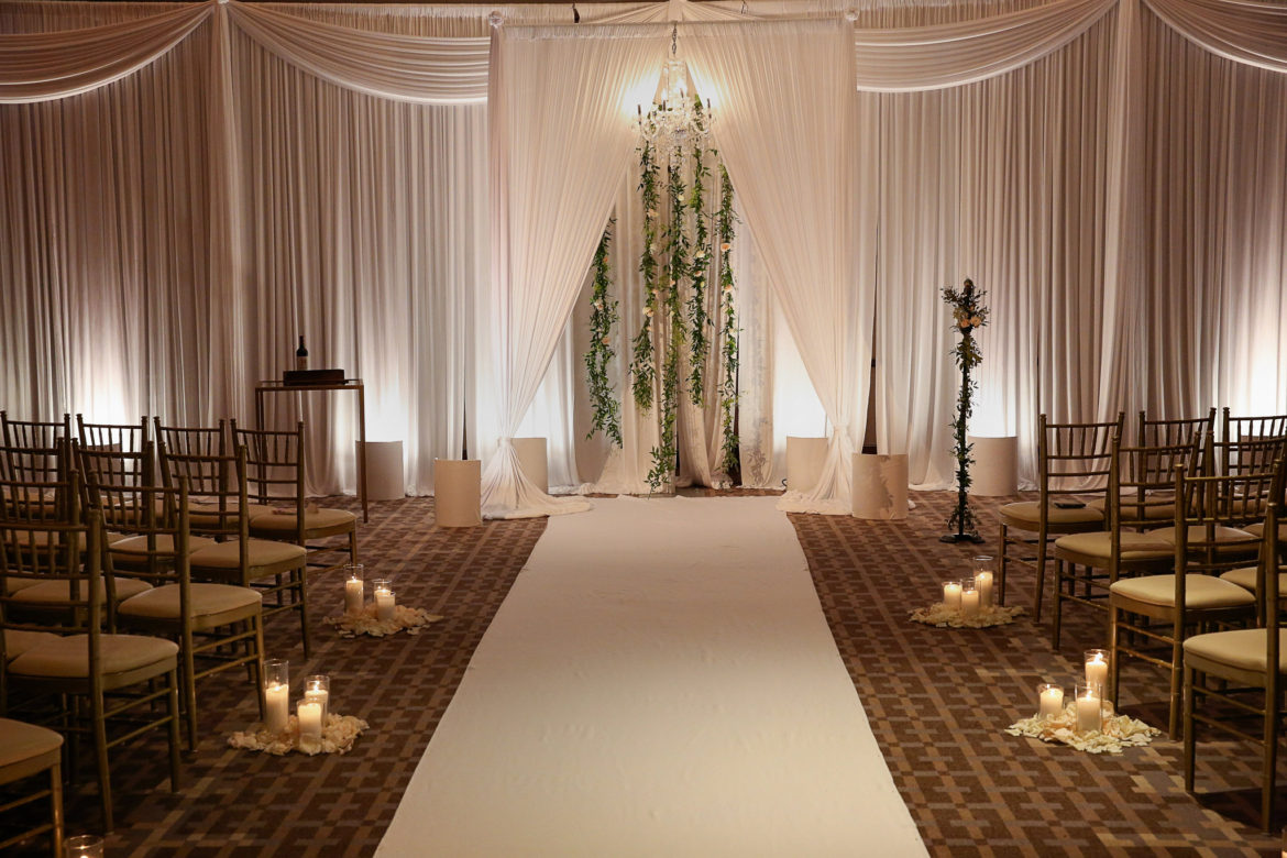 Elegant_Event_Lighting_Chicago_Park_Hyatt_Wedding_White_Backdrop_Draping_Chuppah_Bridal_Canopy_Arch_Aisle_Runner_Flower