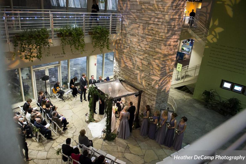 Elegant_Event_Lighting_Chicago_Peggy_Notebaert_Wedding_Uplighting_Chuppah_Bridal_Canopy_Pattern_Lighting_Floral