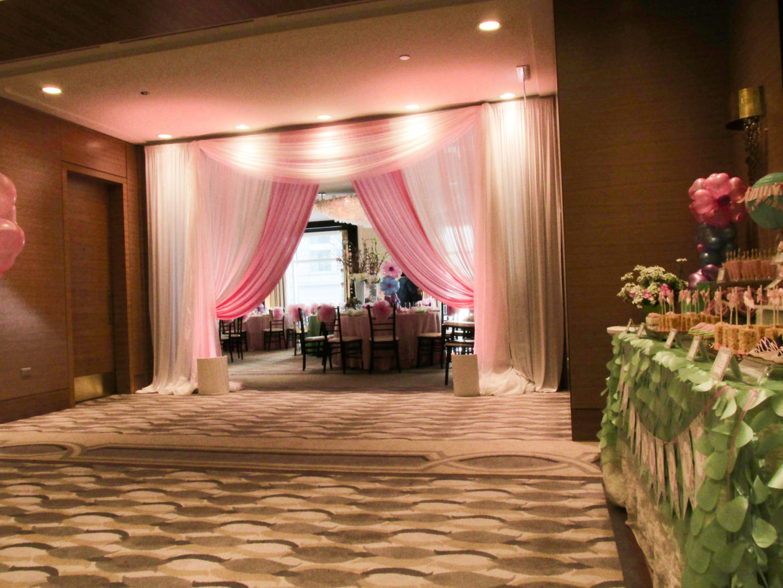 Elegant_Event_Lighting_Chicago_Peninsula_Hotel_Wedding_Uplighting_Ivory_Pink_Draping_Drape_Opening