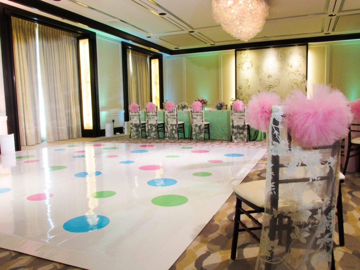 Elegant_Event_Lighting_Chicago_Peninsula_Hotel_Wedding_Vinyl_Monogram_Polka_Dot_Dance_Floor