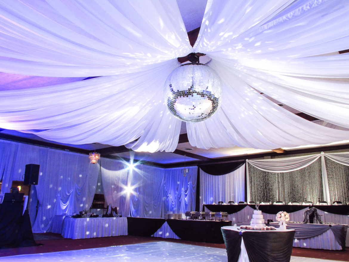 Elegant_Event_Lighting_Chicago_Pitstick_Pavilion_Wedding_Ceiling_Draping_Decor_Mirror_Ball
