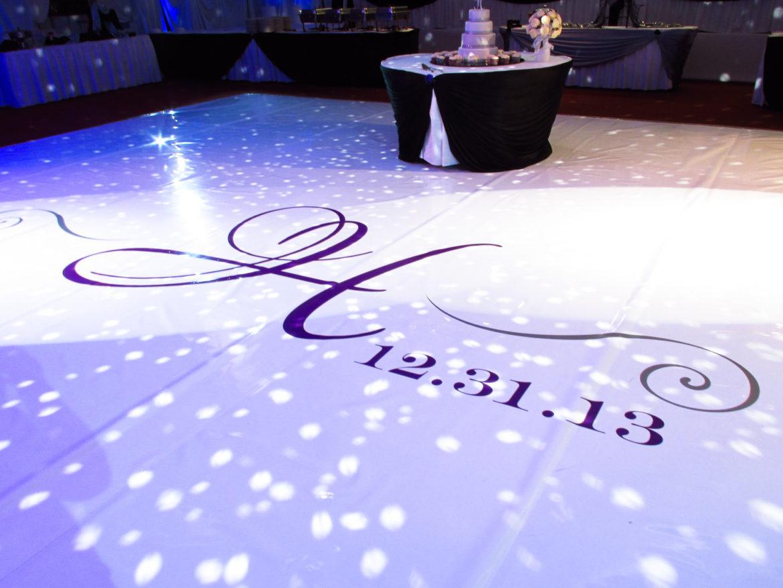 Elegant_Event_Lighting_Chicago_Pitstick_Pavilion_Wedding_Ceiling_Draping_Decor_Mirror_Ball_Vinyl_Monogram_Dance_Floor