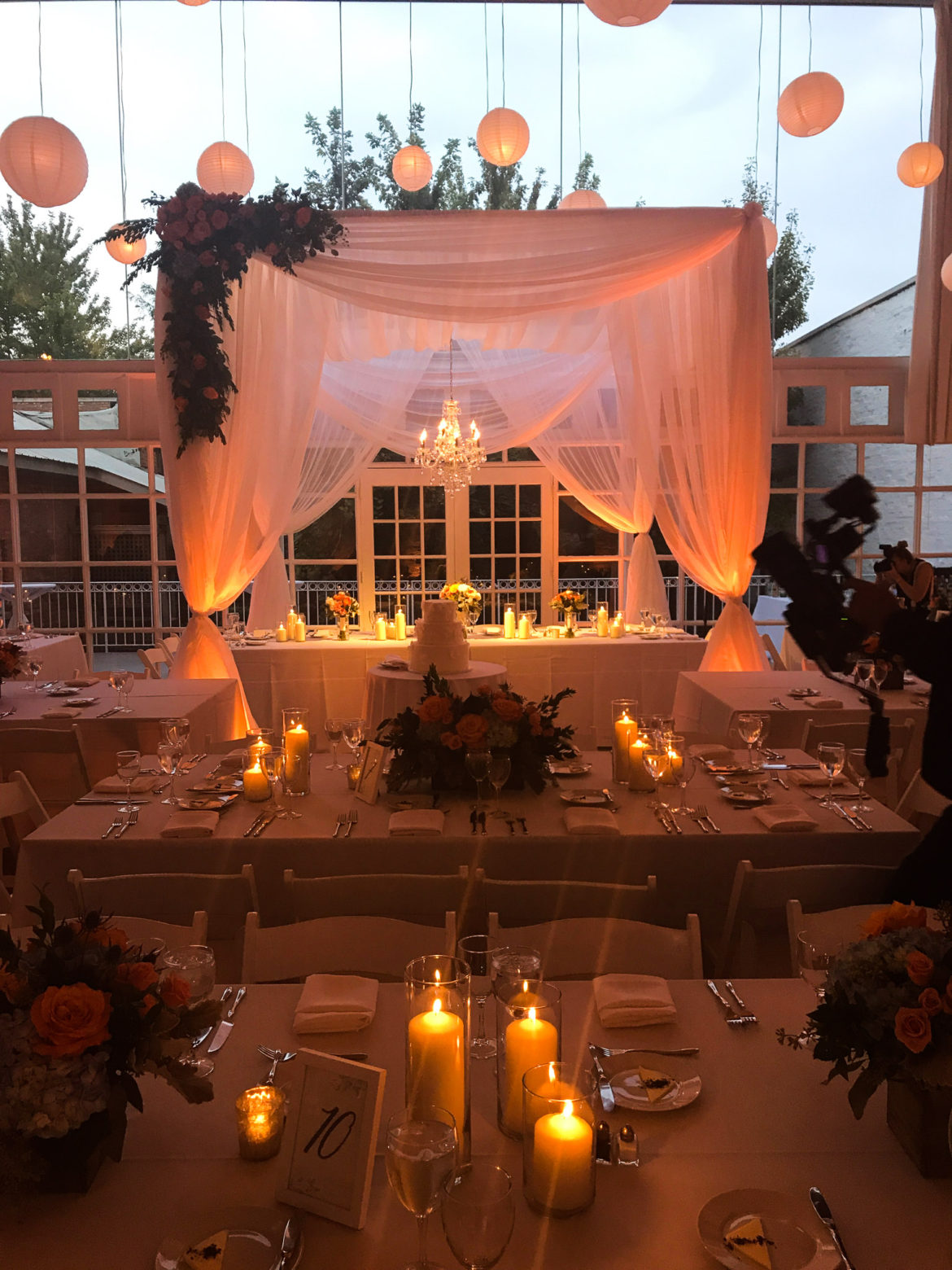 Elegant_Event_Lighting_Chicago_Prarie_Production_Wedding_Amber_Uplighting_Chuppah_Bridal_Canopy_Crystal_Chandelier_Paper_Lanterns_Paper_Globes_Flower