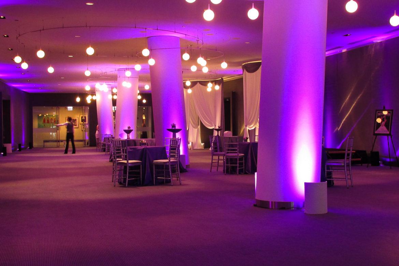 Elegant_Event_Lighting_Chicago_Raddison_Blu_Wedding_Purple_Uplighting_Draping_Drape_Entrance_Column_Uplighting