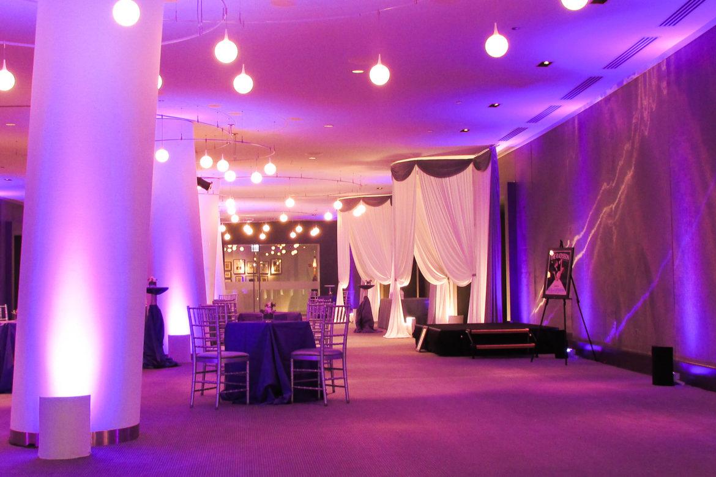 Elegant_Event_Lighting_Chicago_Raddison_Blu_Wedding_Purple_Uplighting_Draping_Drape_Opening_Entrance