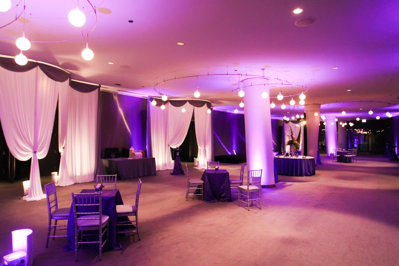 Elegant_Event_Lighting_Chicago_Raddison_Blu_Wedding_Purple_Uplighting_Draping_Drape_Opening_Entrance_Column_Uplighting