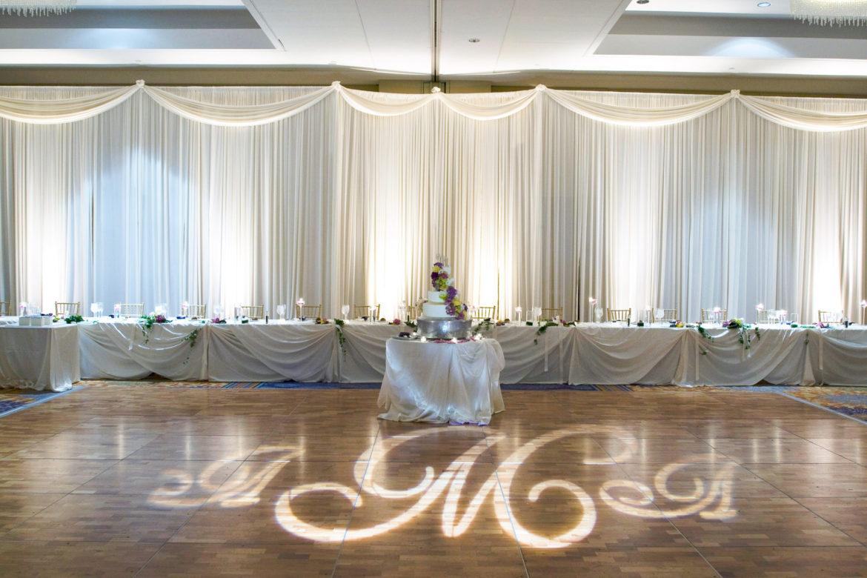 Elegant_Event_Lighting_Chicago_Renaissance_Schaumburg_Wedding_Uplighting_Amber_Ivory_Backdrop_Draping_Dance_Floor_Monogram