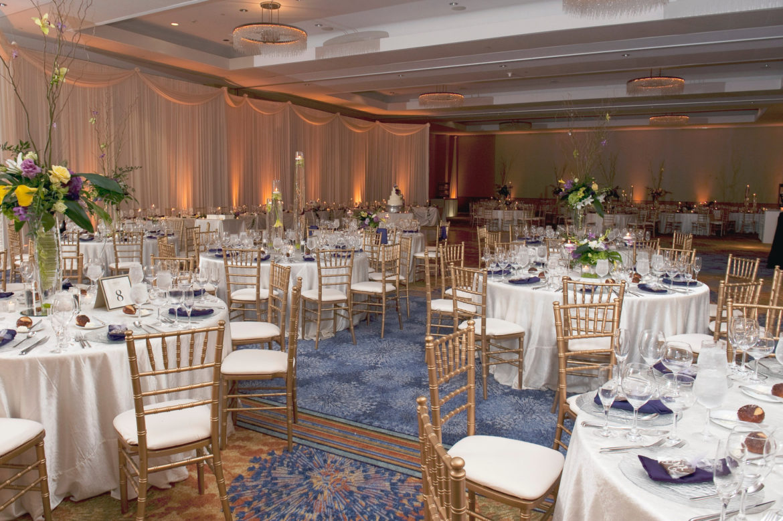 Elegant_Event_Lighting_Chicago_Renaissance_Schaumburg_Wedding_Uplighting_Amber_Ivory_Backdrop_Draping_Flower
