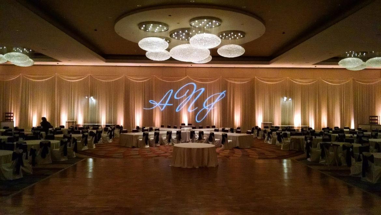 Elegant_Event_Lighting_Chicago_Renaissance_Schaumburg_Wedding_Uplighting_Amber_Ivory_Backdrop_Draping_Monogram_Elegant