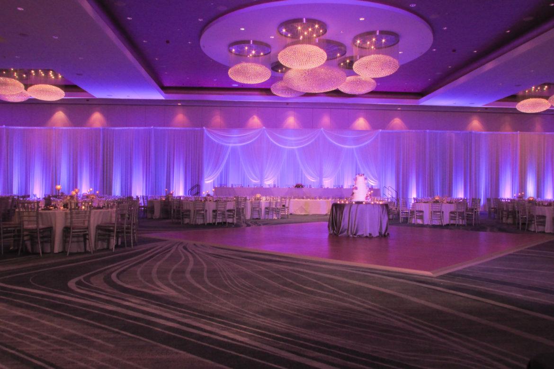 Elegant_Event_Lighting_Chicago_Renaissance_Schaumburg_Wedding_Uplighting_Purple_White_Backdrop_Draping