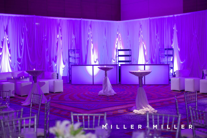 Elegant_Event_Lighting_Chicago_Renaissance_Schaumburg_Wedding_Uplighting_Purple_White_Backdrop_Draping_Flower
