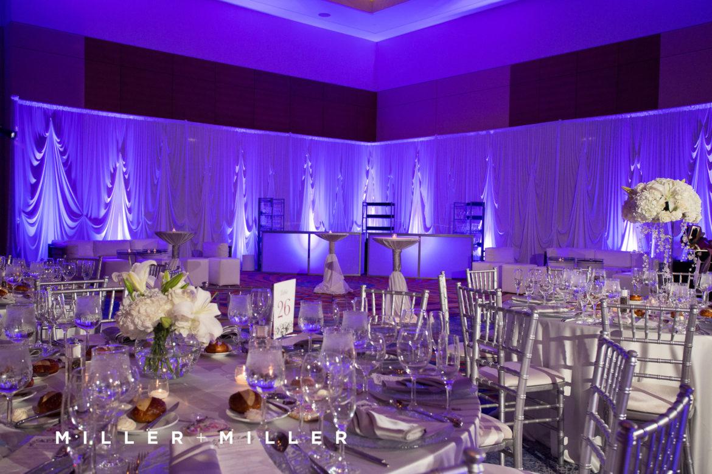Elegant_Event_Lighting_Chicago_Renaissance_Schaumburg_Wedding_Uplighting_Purple_White_Backdrop_Draping_Flower_Centerpice_Lighting