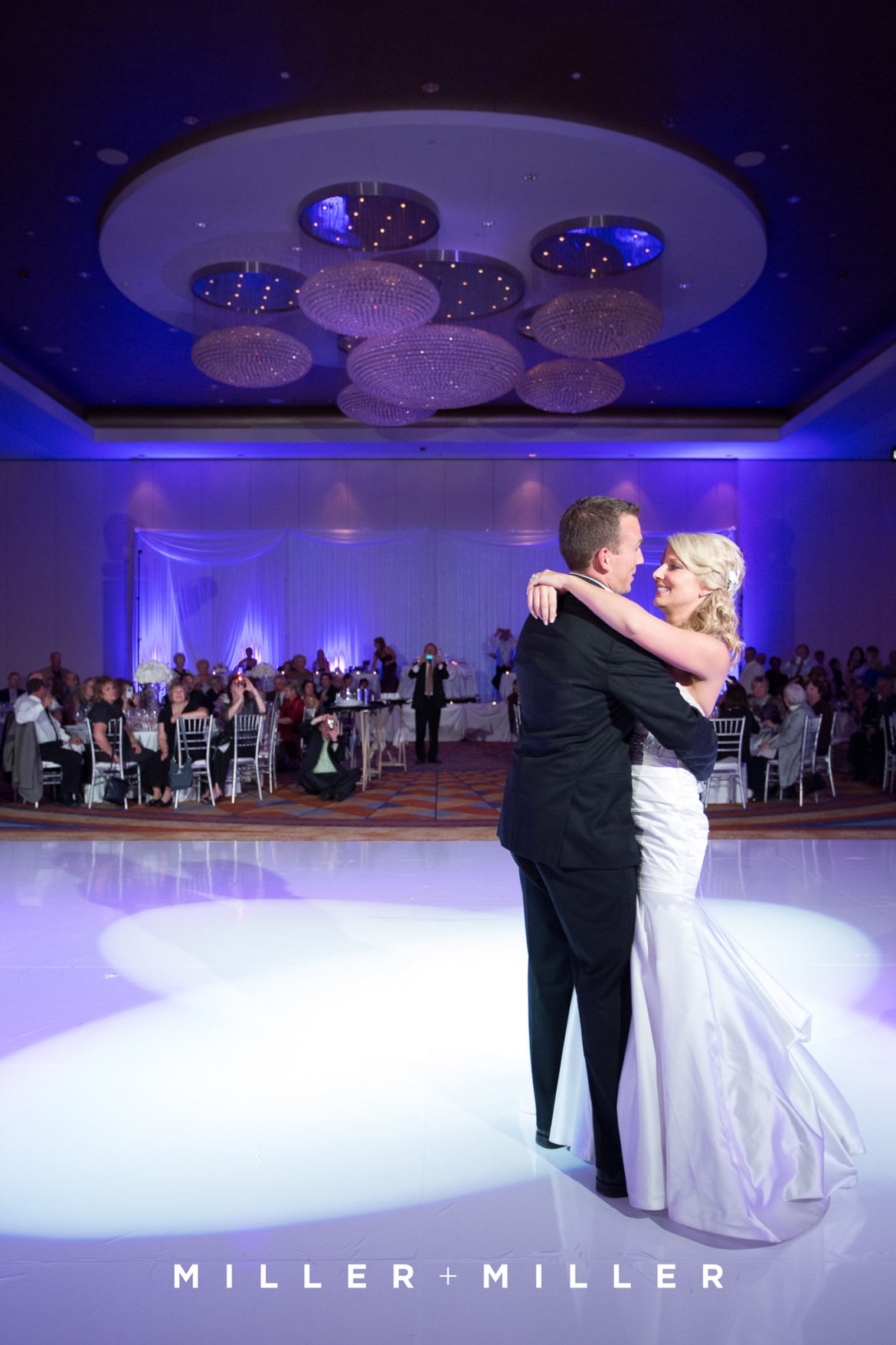 Elegant_Event_Lighting_Chicago_Renaissance_Schaumburg_Wedding_Uplighting_Purple_White_Backdrop_Draping_White_Vinyl_Dance_Floor_First_Dance