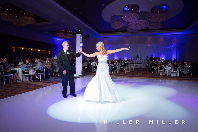 Elegant_Event_Lighting_Chicago_Renaissance_Schaumburg_Wedding_Uplighting_Purple_White_Backdrop_Draping_White_Vinyl_Dance_Floor_First_Dance