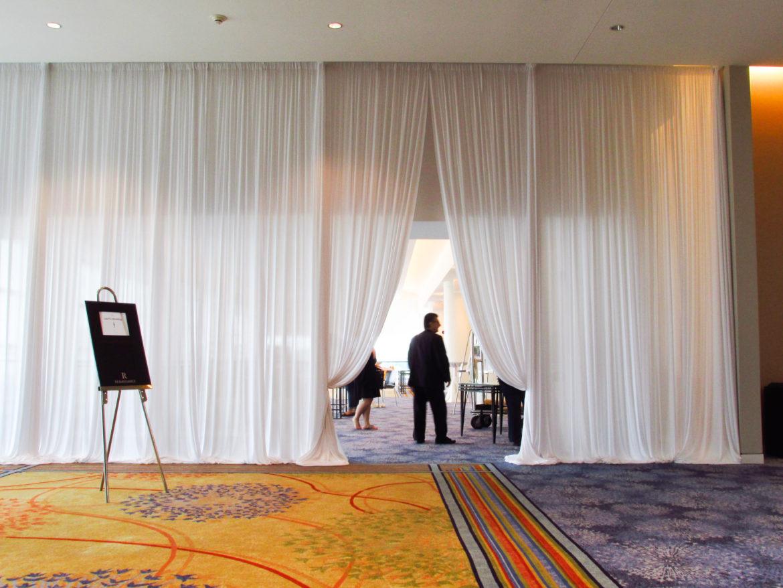 Elegant_Event_Lighting_Chicago_Renaissance_Schaumburg_Wedding_White_Entrance_Draping
