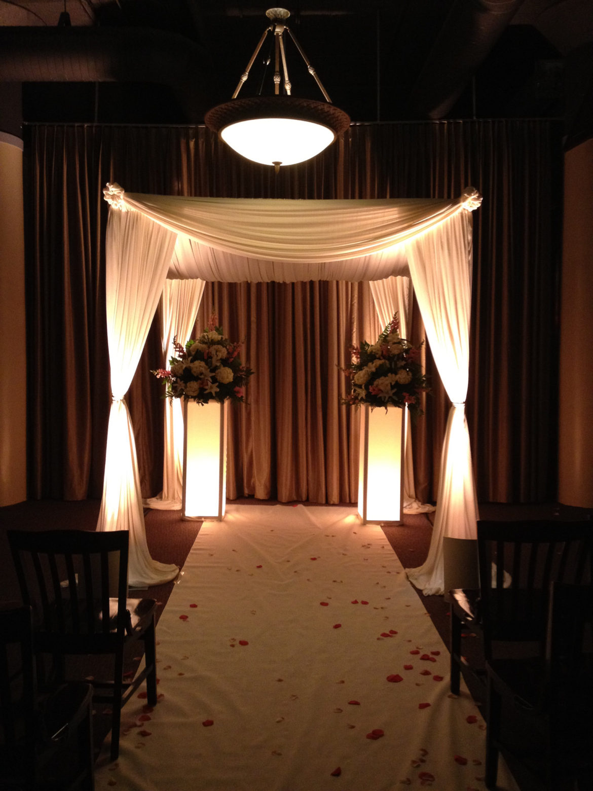 Elegant_Event_Lighting_Chicago_River_Roast_Wedding_Amber_Uplighting_Chuppah_Bridal_Canopy_Aisle_Runner_Flower_Pedestal