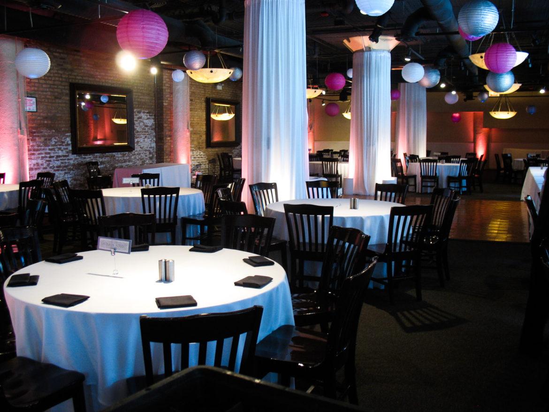 Elegant_Event_Lighting_Chicago_River_Roast_Wedding_Pink_Uplighting_Column_Drapes_Paper_Lanterns