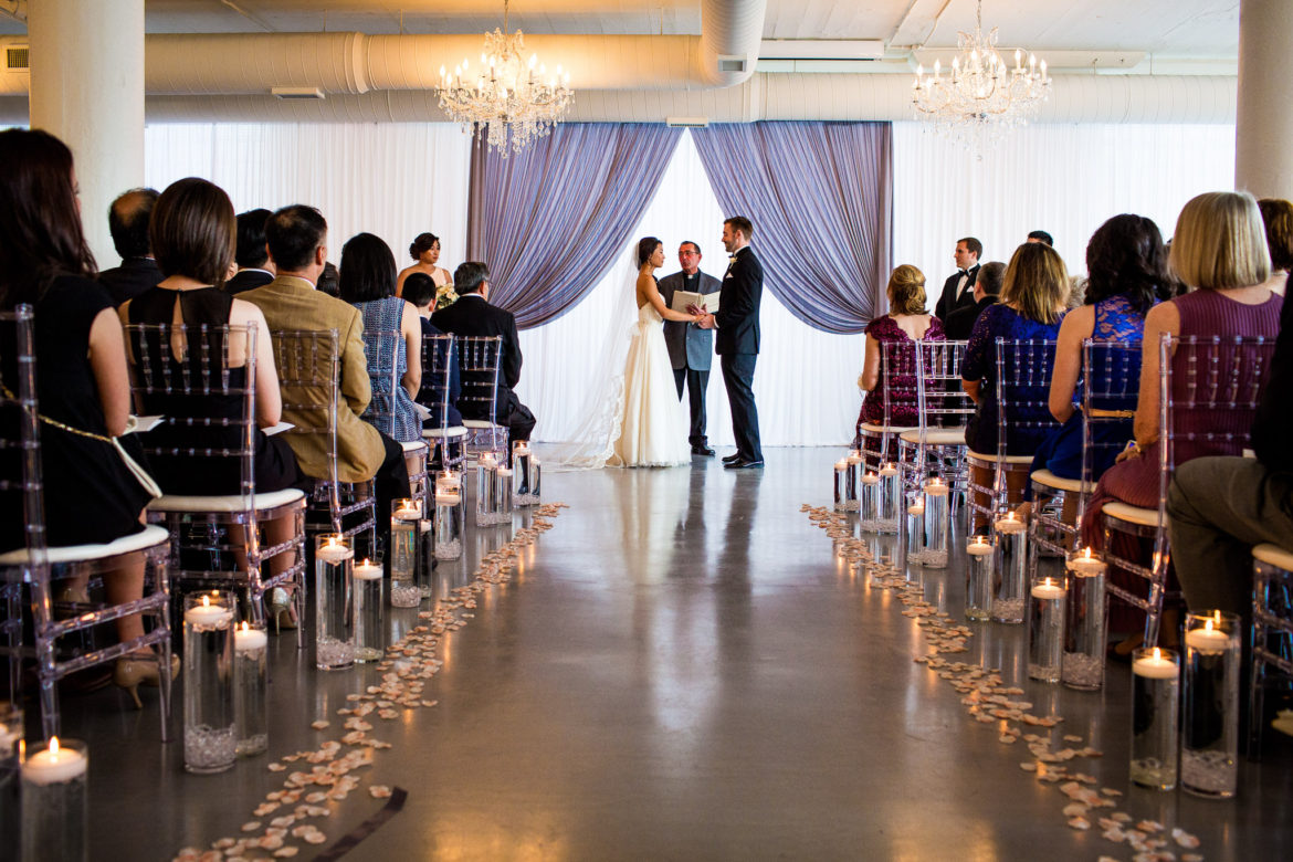 Elegant_Event_Lighting_Chicago_Room_1520_Wedding_Backdrop_Draping_Crystal_Chandeliers_Ceremony_Bride_Groom