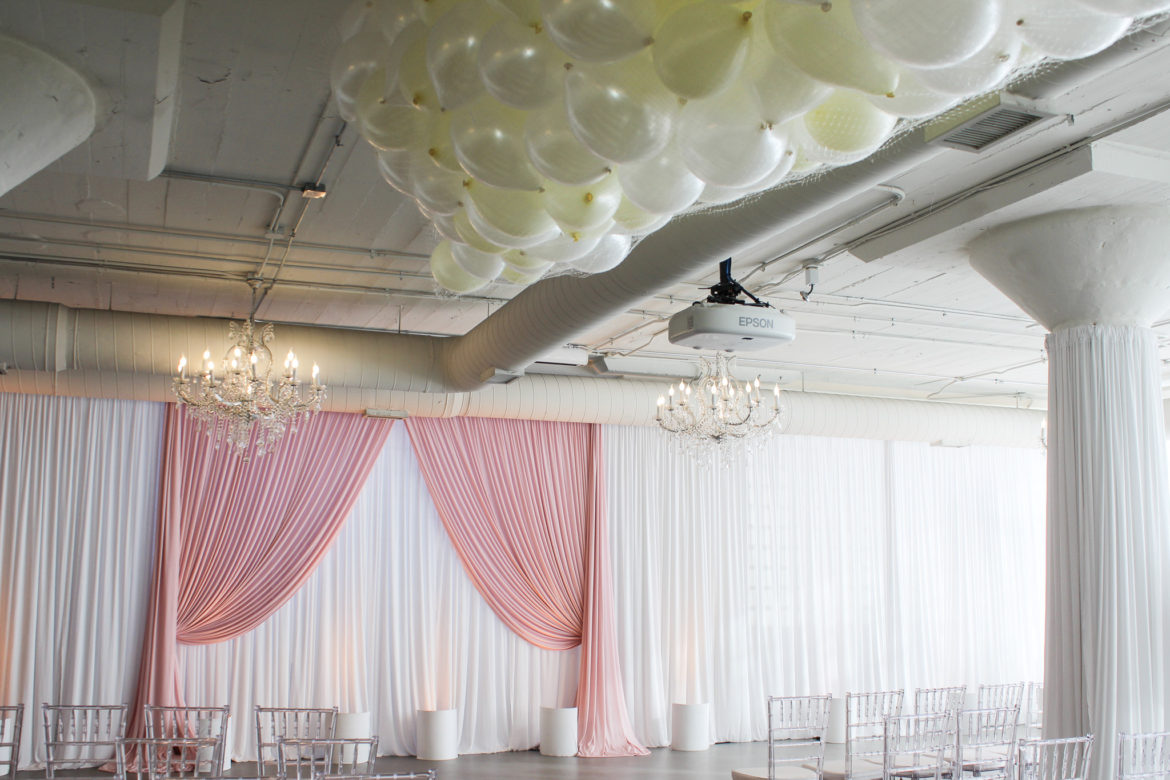 Elegant_Event_Lighting_Chicago_Room_1520_Wedding_Pink_White_Ceremony_backdrop_Balloon_Drop