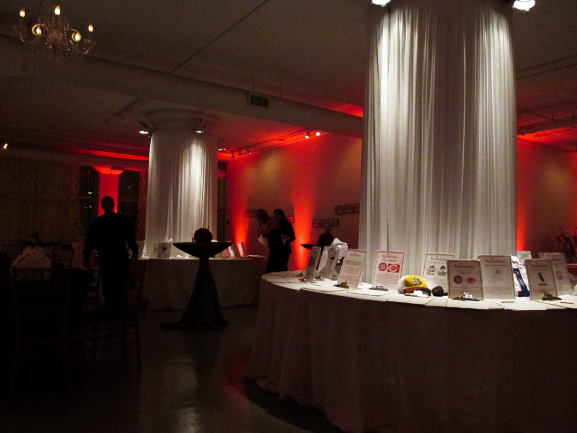 Elegant_Event_Lighting_Chicago_Room_1520_Wedding_Red_Uplighting_Column_Draping