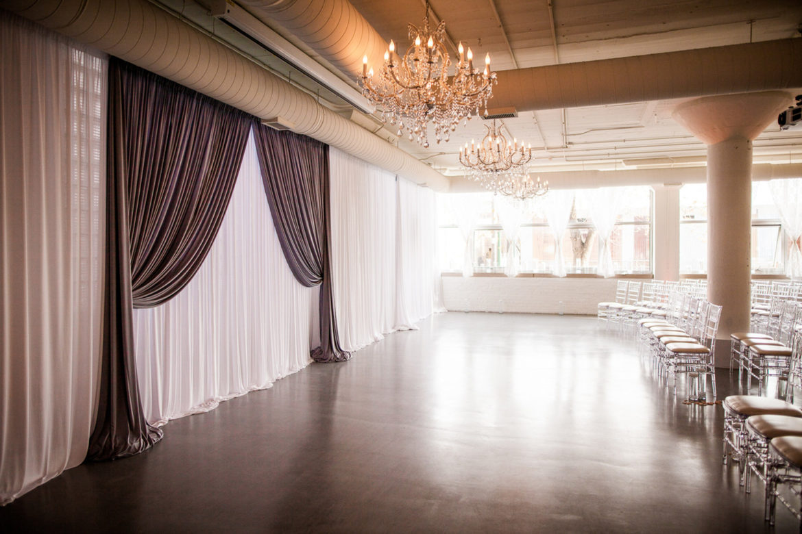 Elegant_Event_Lighting_Chicago_Room_1520_Wedding_White_Backdrop_Draping_Crystal_Chandeliers_Ceremony