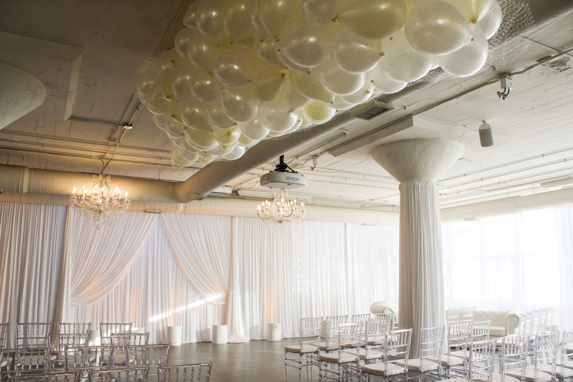 Elegant_Event_Lighting_Chicago_Room_1520_Wedding_White_Ceremony_Backdrop_Balloons_Drop