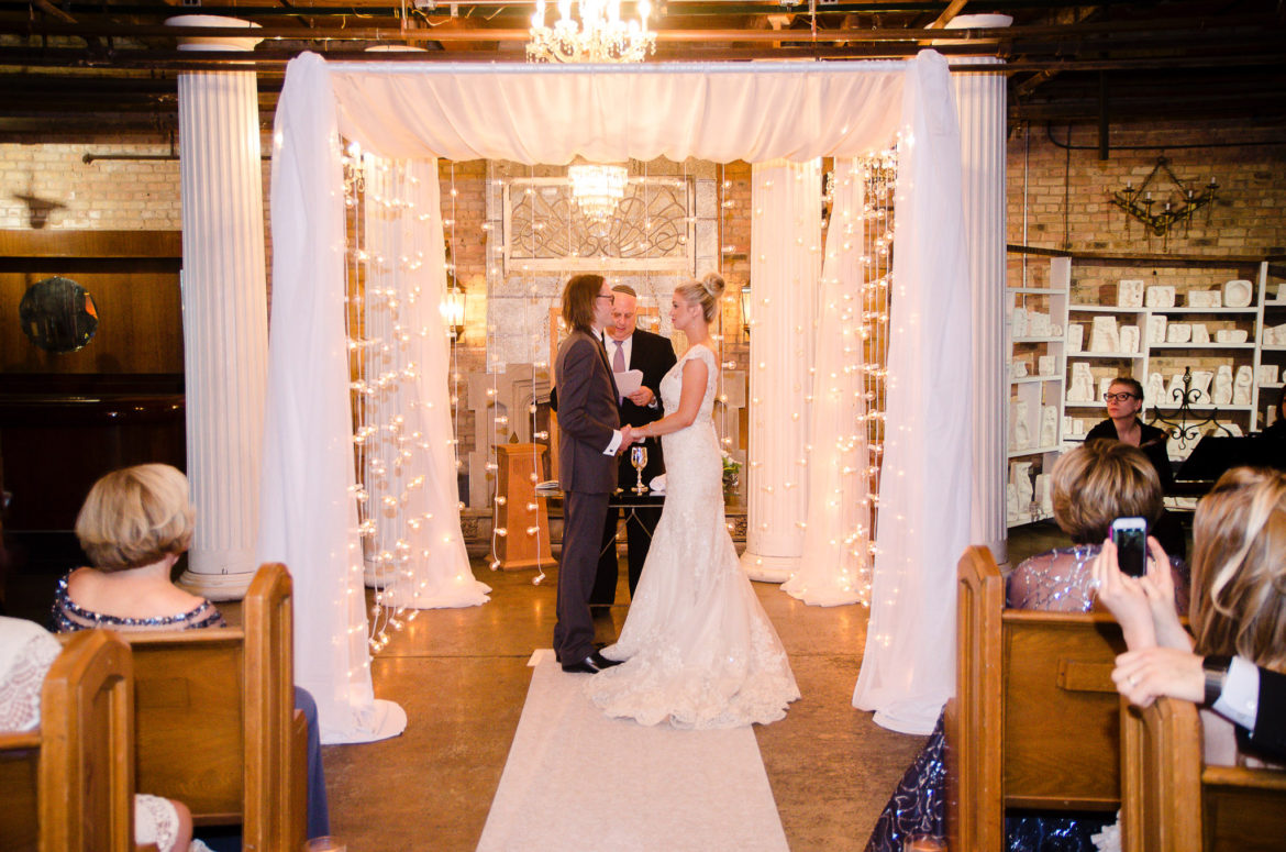 Elegant_Event_Lighting_Chicago_Salvage_One_Wedding_Bridal_Canopy_Chuppah_Cafe_Lights_Aisle_Runner_Bride_Groom