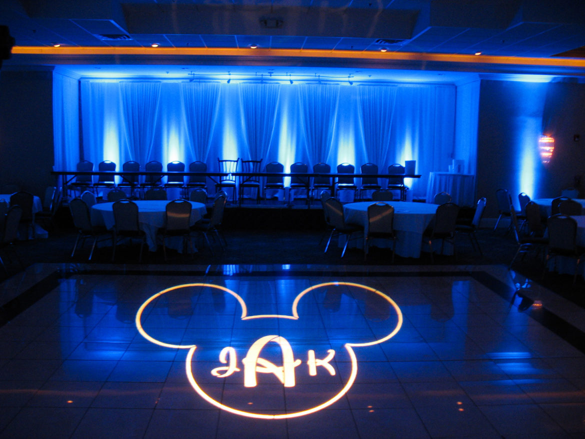 Elegant_Event_Lighting_Chicago_Seville_Streamwood_Wedding_Uplighting_Blue_Backdrop_Draping_Disney_Mickey_Monogram