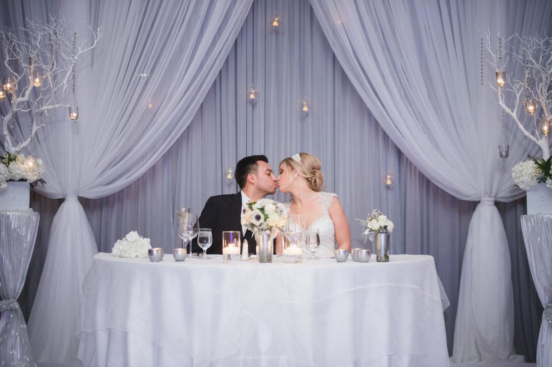 Elegant_Event_Lighting_Chicago_Sheraton_Wedding_Backdrop_White_Grey_Draping_Crystal_Globe_Backdrop