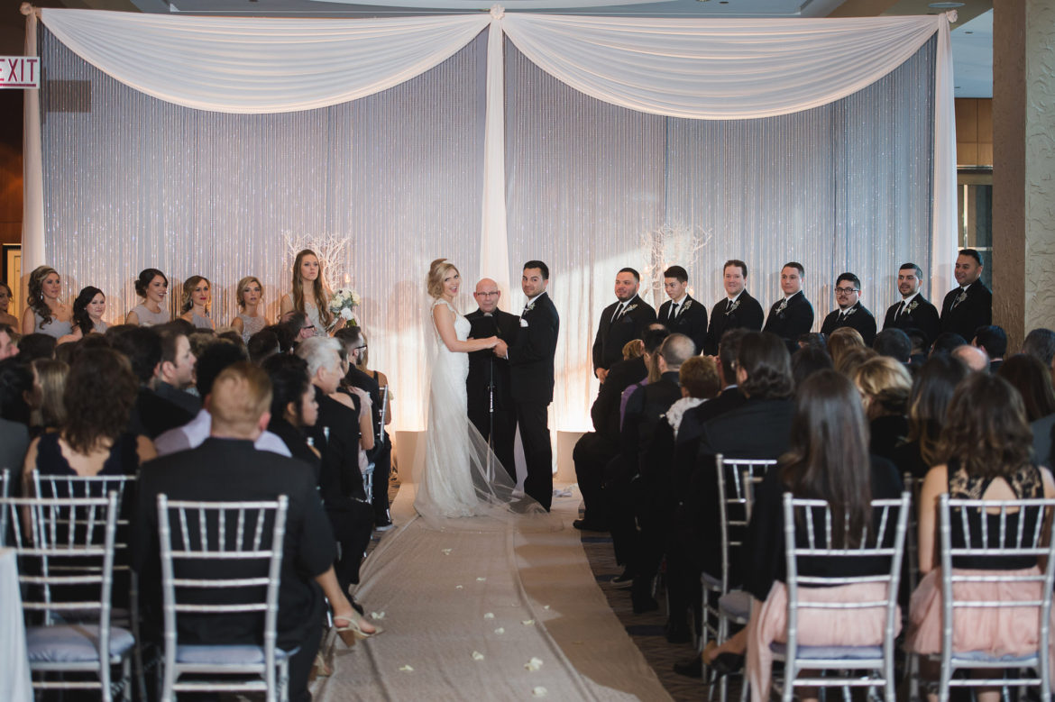 Elegant_Event_Lighting_Chicago_Sheraton_Wedding_Ceremony_Backdrop_White_Draping_Crystal-Curtain_Backdrop_Valences