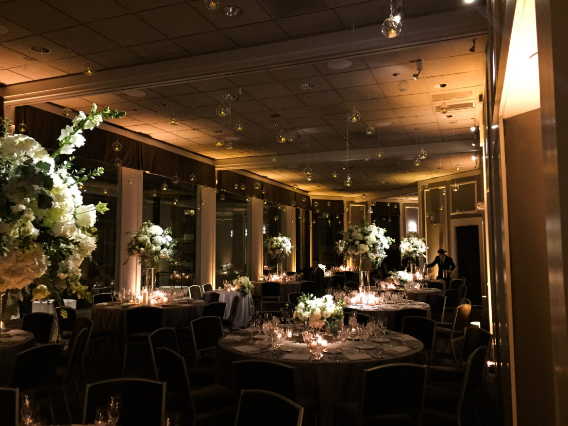 Elegant_Event_Lighting_Chicago_Spiaggia_Wedding_Amber_Uplighting_Flower_Centerpice_Lighting