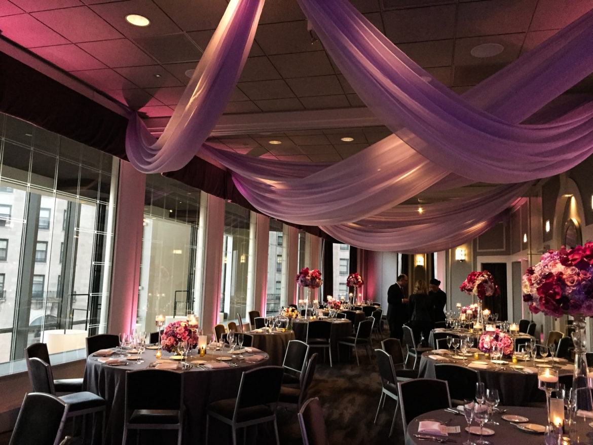 Elegant_Event_Lighting_Chicago_Spiaggia_Wedding_Purple_Uplighting_Cloud_Ceiling_Drapes