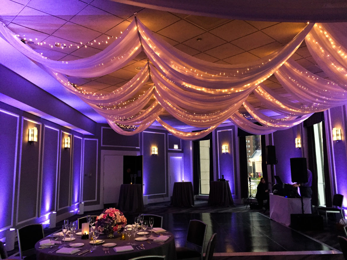 Elegant_Event_Lighting_Chicago_Spiaggia_Wedding_Purple_Uplighting_Cloud_Ceiling_Drapes_Twinkle_String_Lights