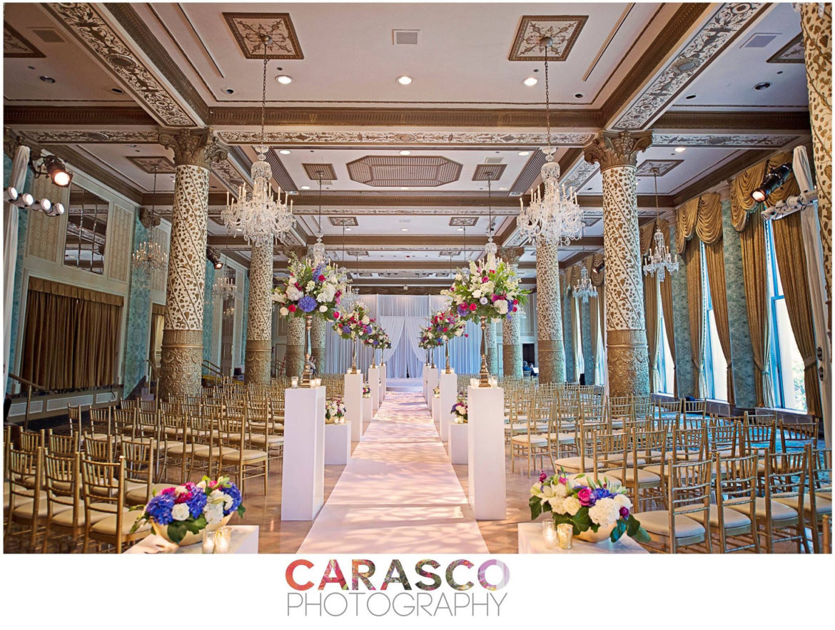 Elegant_Event_Lighting_Chicago_The_Drake_Wedding_Ceremony_Draping_Arch_Aisle_Runner