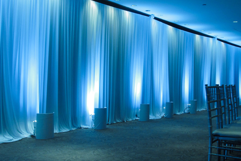 Elegant_Event_Lighting_Chicago_The_Morton_Arboretum_Lisle_Gingko_Room__Wedding_Blue-LED_Uplighting_White_Drape_Wall