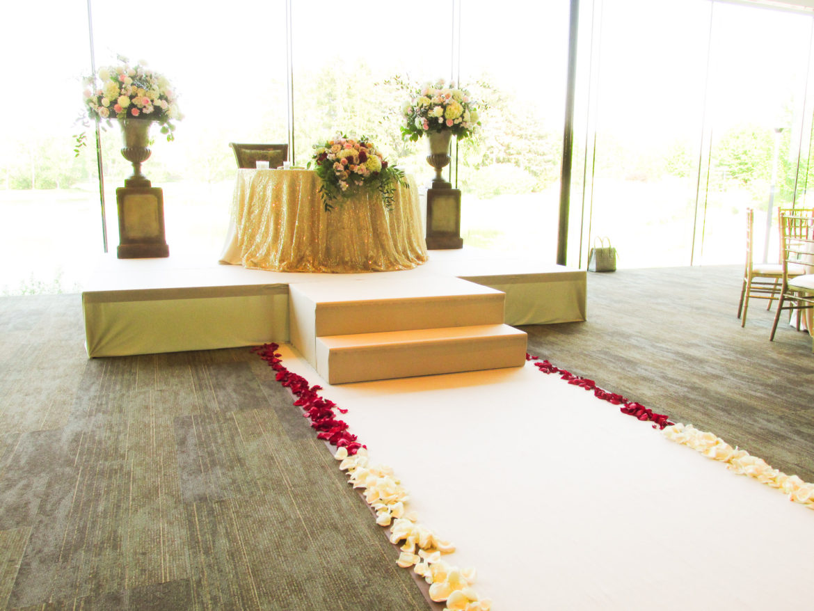 Elegant_Event_Lighting_Chicago_The_Morton_Arboretum_Lisle_Ginko_Room_Wedding_Ceremony_Stage_Cover_Steps_Flower_Pedestals