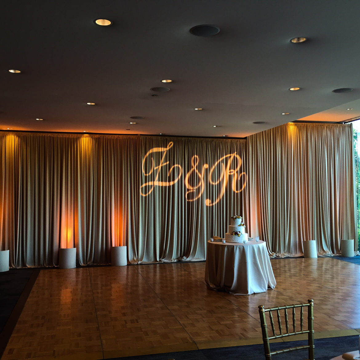 Elegant_Event_Lighting_Chicago_The_Morton_Arboretum_Lisle_Ginko_Room__Wedding_.Champagne_Draping_Amber_Uplighting_Monogram