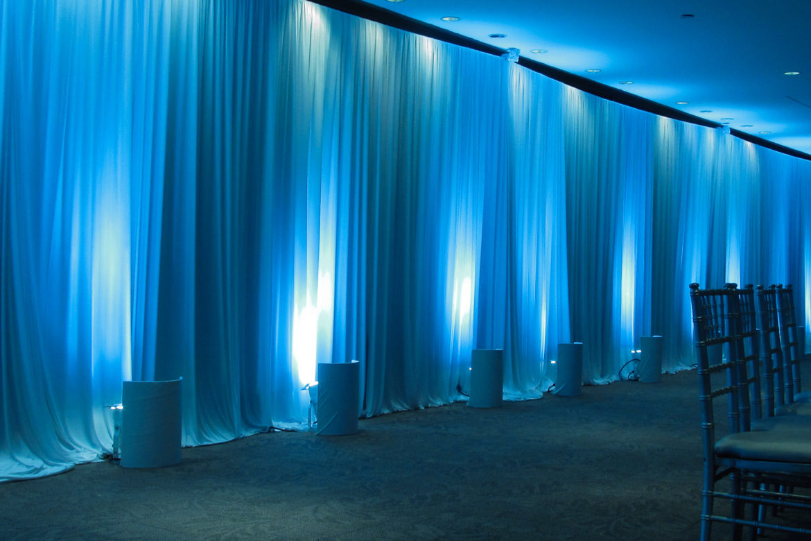 Elegant_Event_Lighting_Chicago_The_Morton_Arboretum_Lisle_Ginko_Room__Wedding_Blue-LED_Uplighting_White_Drape_Wall